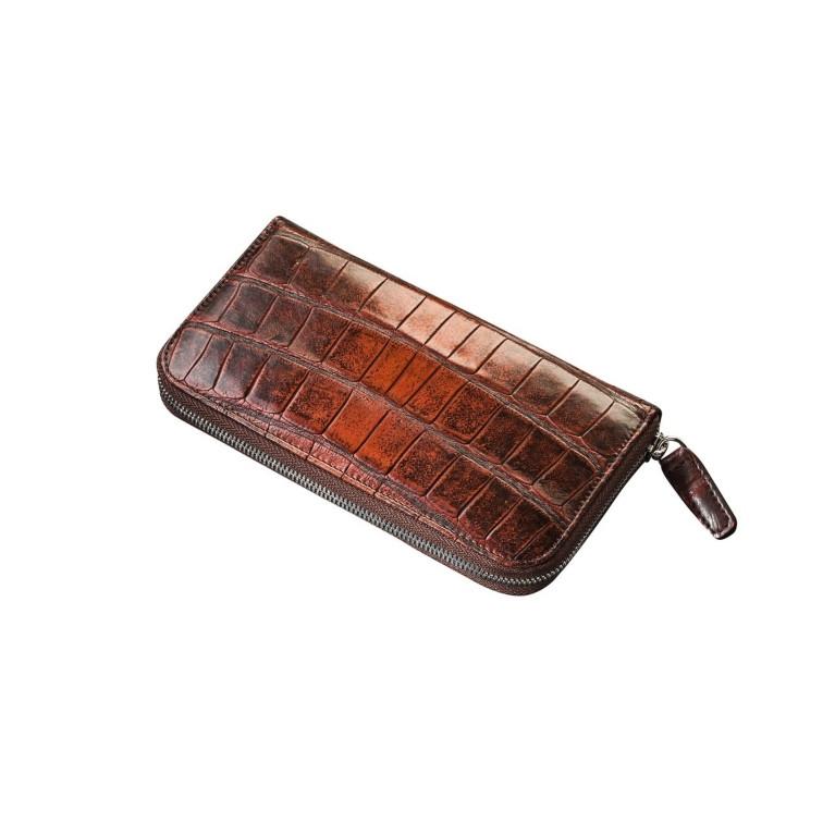 Женский кошелек на молнии из натуральной кожи крокодила