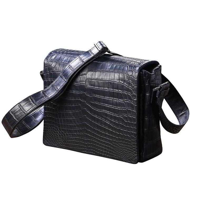 Мужская сумка на плечевом ремне из натуральной кожи крокодила